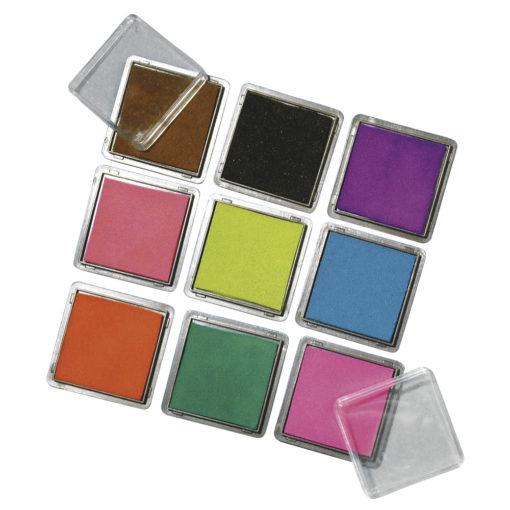 Rayher Mini-Stempelkissen-Set für Scrapbooking, 9 Farben