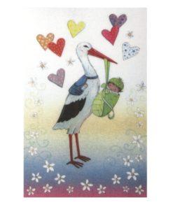 Wachsmotiv Storch mit Baby, zum Dekorieren