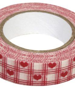 Washi Tape Herzen weiß-rot auf Rolle