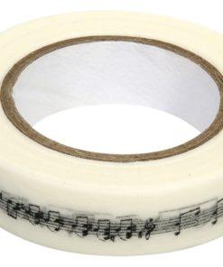 Washi Tape schwarze Noten in weiß