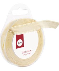 Rayher Webband Uni mit Kante vanille, 15 mm, Rolle 5 m
