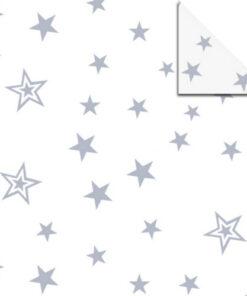 Faltblätter Aurelio-Stern, Silver Stars, weiß/silber