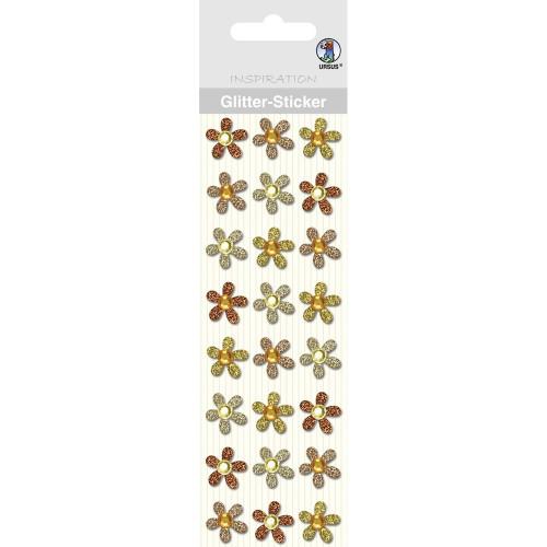 Ursus Glitter-Sticker Blüten, bernstein/sand, zum Basteln