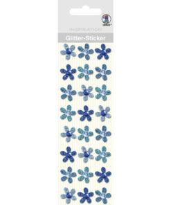 Ursus Glitter-Sticker Blüten, blau, zum Basteln