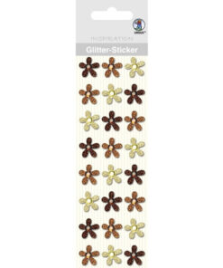 Ursus Glitter-Sticker Blüten, braun/beige, zum Basteln