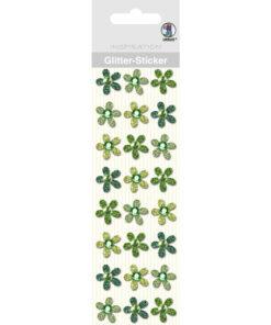 Ursus Glitter-Sticker Blüten, grün, zum Basteln