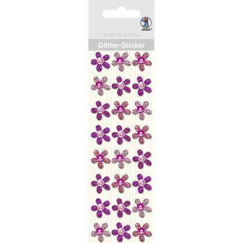 Glitter-Sticker Blüten, rosa, zum Basteln