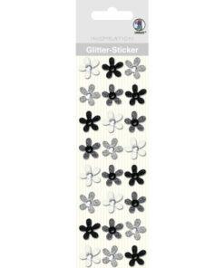 Glitter-Sticker, schwarz-weiß, zum Basteln