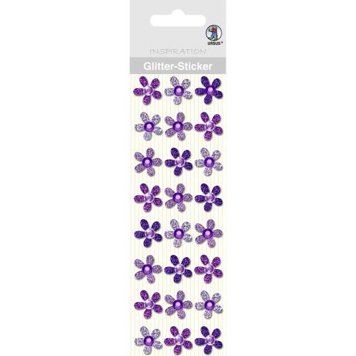 Glitter-Sticker Blüten, violett, zum Basteln