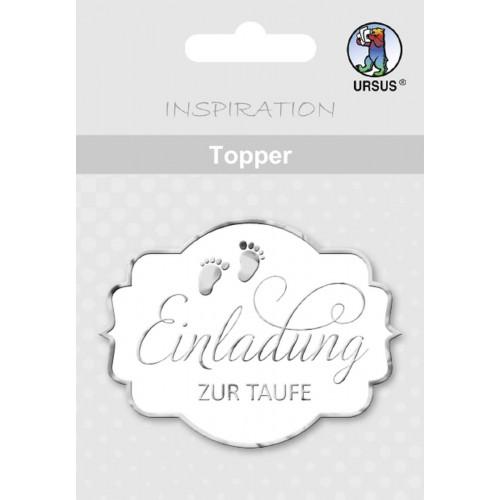 Ursus Topper Einladung Taufe, silber, zum Basteln und Dekorieren