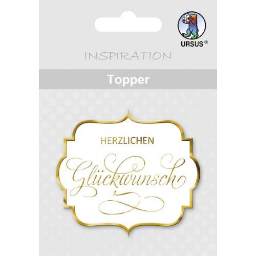 Ursus Topper Herzlichen Glückwunsch, gold, zum Dekorieren