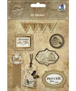 "3D-Sticker ""Vintage"" Motiv 1"