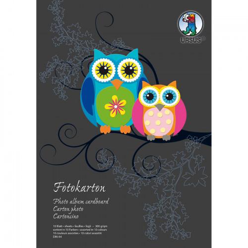 Ursus Fotokarton-Bastelblock, DIN A4, 10 Blatt sortiert