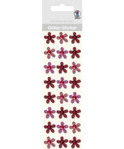 Glitter-Sticker Blüten, rot, zum Basteln