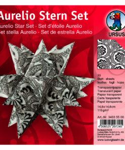 Faltblätter Aurelio-Stern Transparentpapier, Black & White