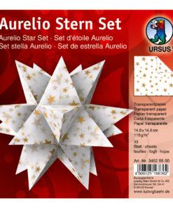 Ursus Aurelio-Stern Transparentpapier, 15x15cm, weiß/gold