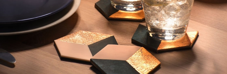 Fimo Untersetzer mit Blattmetall