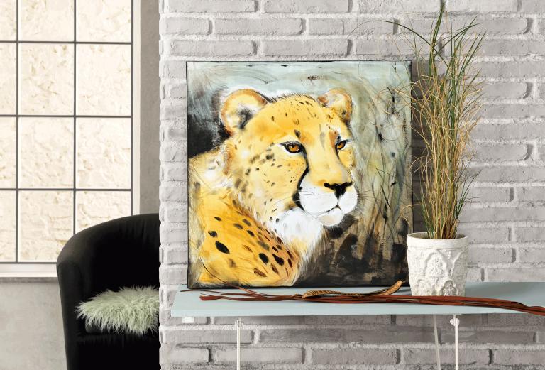 Das fertig gestaltete Bild mit einem Gepard.