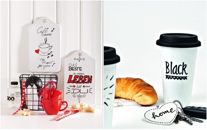 Frühstücks-Brettchen aus Porzellan und Kaffeebecher to go  mit Porcelain & Glas Paintern bemalt.