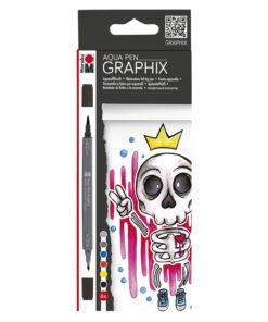 Marabu Aqua Pen Graphix KING OF BUBBLEGUM 6er Set