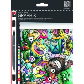 Marabu Aqua Pen Graphix MEGAMASH 12er Set