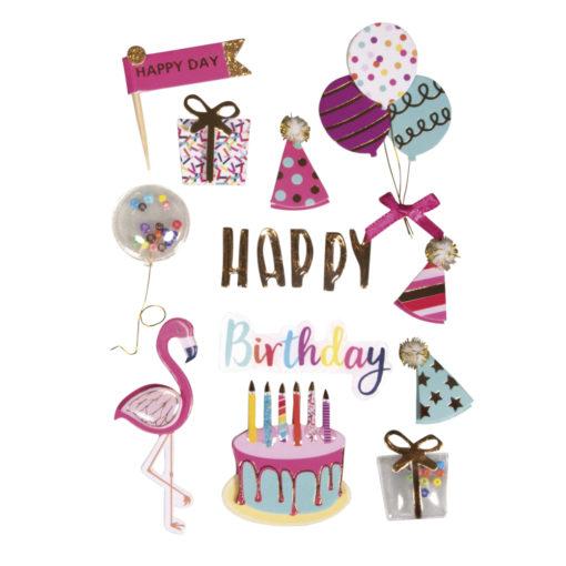 """3D Sticker """"Birthday Party"""" mit Effekten"""