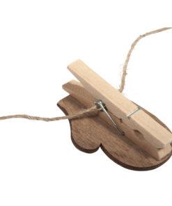 Adventskalenderzahl, Handschuh aus Holz mit Klammer