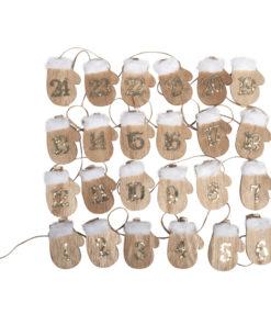 Adventskalenderzahlen, Handschuhe aus Holz
