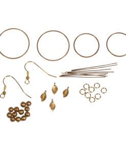 Bastelpackung, Boho-Ohrhänger Goldblatt