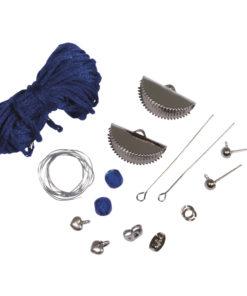 Bastelpackung, Boho-Ohrringe Halbmond in echtblau/silber