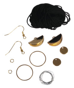 Bastelpackung, Boho-Ohrringe Halbmond schwarz/gold