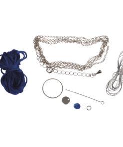 Bastelpackung, Boho-Quastenkette echtblau/silber