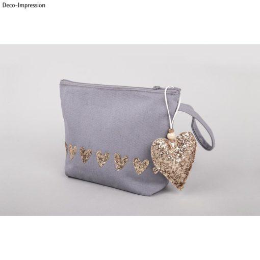 Tasche mit Glitzerstoff in gold