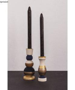 2 Holz-Kerzenständer