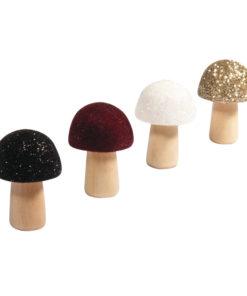 4 Pilze aus Holz, beglimmert