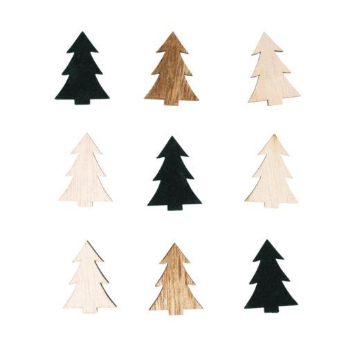 Holz-Streuteile Tannenbaum sortiert