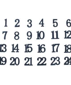 Holz Zahlen 1-24, Samt Optik, nachtblau