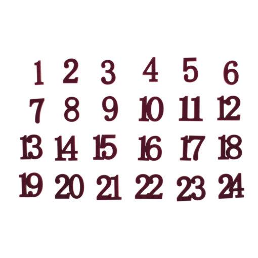 Holz Zahlen 1-24, Samt Optik, weinrot