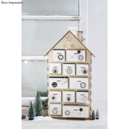 Holzbausatz Adventskalender Haus mit Schubladen