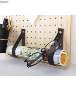 Dekoidee mit Kunstlederband flach in schwarz