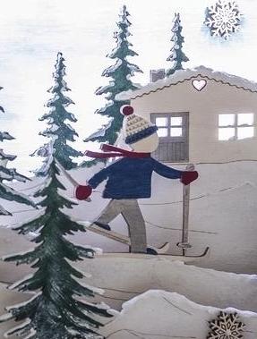 Detaliansicht von dem 3D-Motivrahmen aus Holz mit Skifahrer.