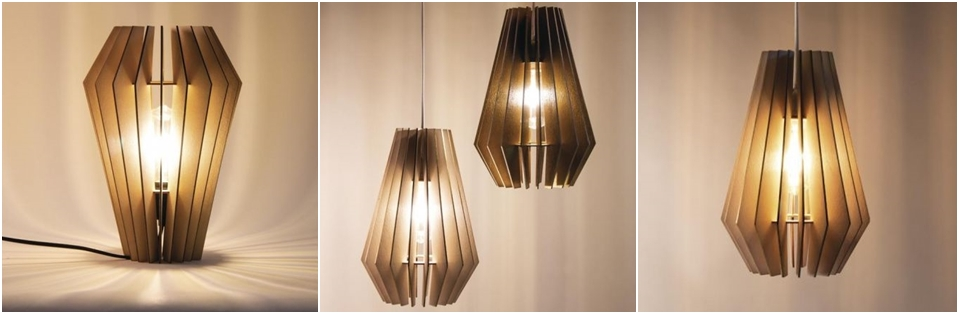 Eine Lamellenlampe in 3 Ausführungen.