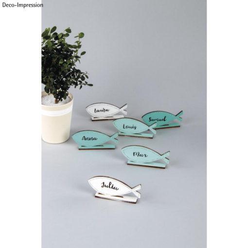 Tischkarten Fisch aus Holz
