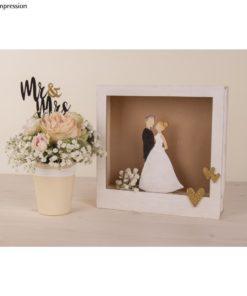 Holzstecker Mr & Mrs und Bilderrahmen mit Brautpaar
