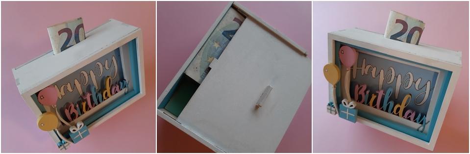 Die 3D-Geschenkbox für ein Geldgeschenk in 3 Ansichten.