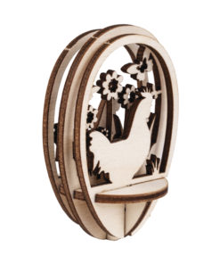Plexiei mit Holzstecker Huhn