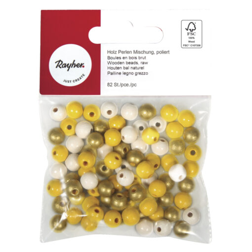 Holzperlen-Mischung gelb Töne