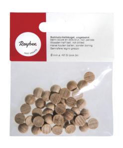 Rayher Rohholz-Halbkugeln aus Buchenholz, 8mm, 40 Stück