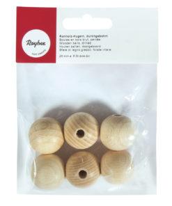 Rohholz-Kugeln, durchgebohrt, 25mm ø