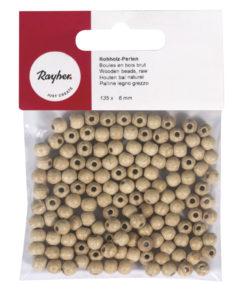 Rayher Rohholzperlen, 6mm, 135 Stück
